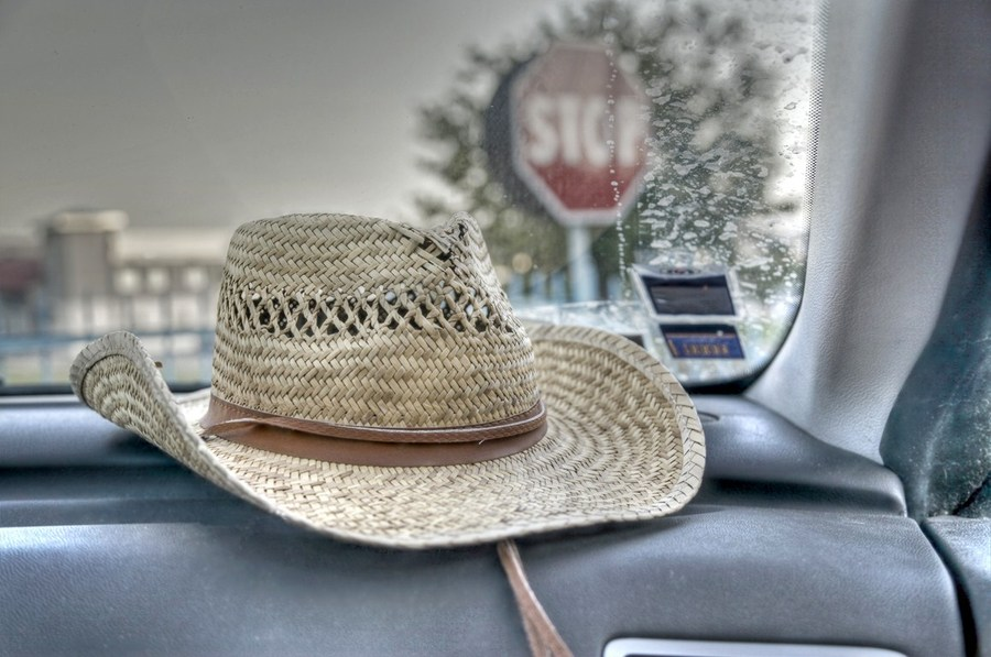 A hat in a car