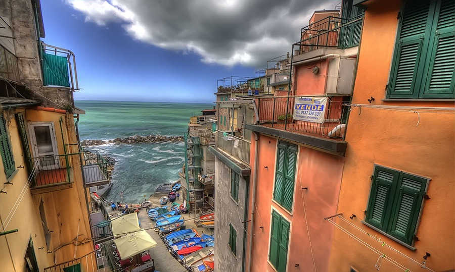 Italian coastal village with a room with a view