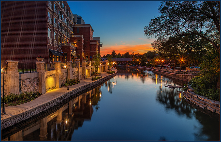 Naperville blue hour riverwalk